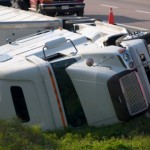 Sleep Apnea Trucking Overturned truck on the side of the road